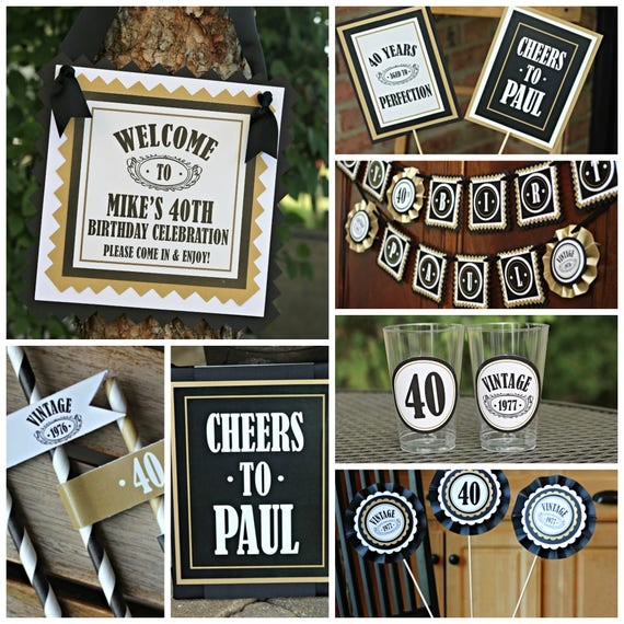 40TH BIRTHDAY PARTY Decorations 40th Party Banner Supplies Vintage Birthday Cheers To 40 Years For Him Adult