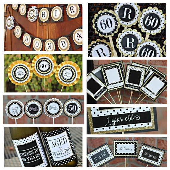 60TH BIRTHDAY DECORATIONS 60th Birthday Party Decor Ladies For Her Banner Supplies Black Gold