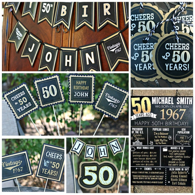 70TH BIRTHDAY PARTY Banner Happy Birthday Cheers To 70 Years Vintage 1948 70th Party Decorations Black And Gold
