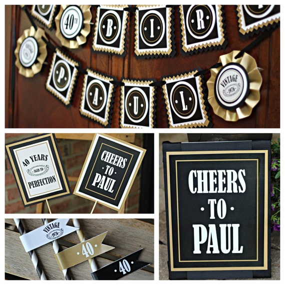 MASCULINE AND MODERN Adult Birthday Decorations Black And Gold 40th Banner Centerpiece Party Sign