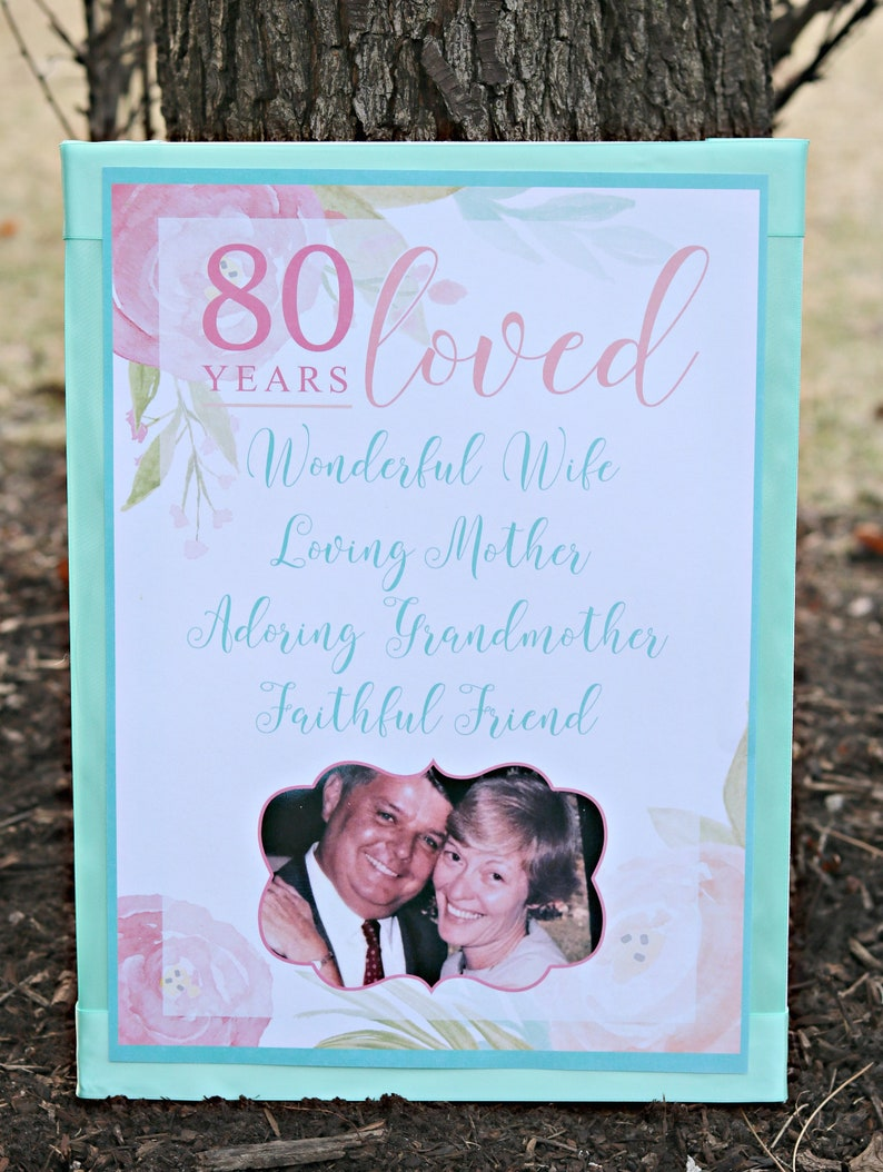 PRINTED 80th Birthday Party Invitations 80 Years Loved Pink Floral Milestone 80th Party Invite Pink and Aqua Floral birthday