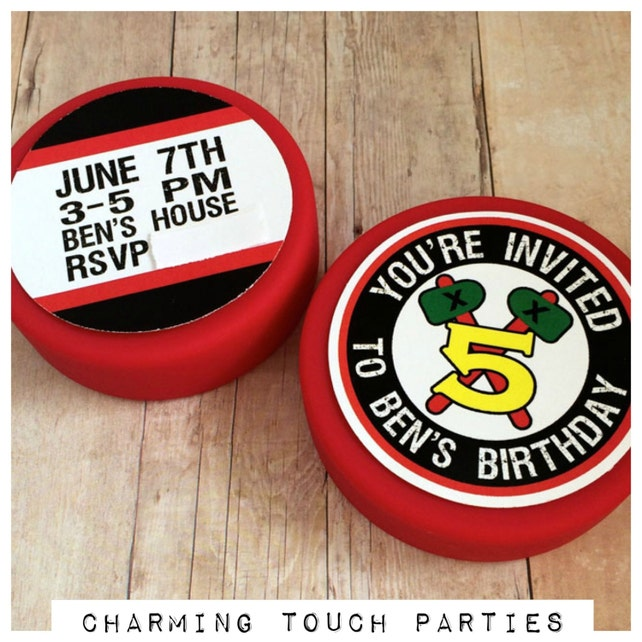 HOCKEY PUCK INVITATIONS Hockey Puck Birthday Invitations Boy Sports Party Decorations Red And Black
