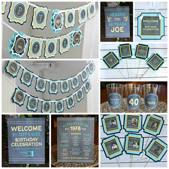 Image of: Petty Kid 40th Birthday Party Decorations 40th Party Banner 40th Party Supplies This Kid Is 40 Cheers To 40 Years Adult Party Navy Blue And Aqua Catch My Party 40th Birthday Party Decorations 40th Party Banner 40th Party