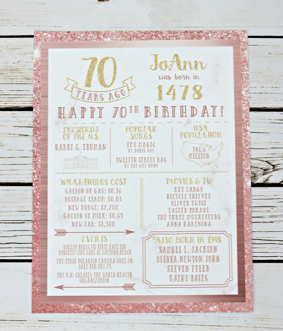 PRINTED 70th Birthday Poster Back In 1949 What Happened Decorations Rose Gold Party Decor Vintage