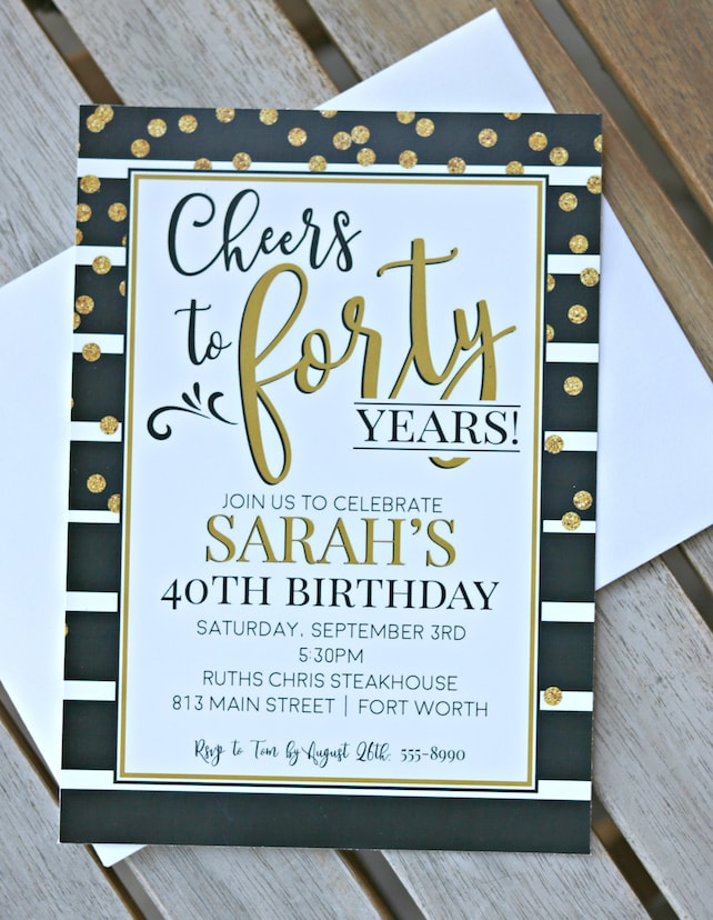 PRINTED 40TH INVITATIONS Ladies 40th Birthday Decorations Invitations Cheers To 40 Years For Her Black Gold