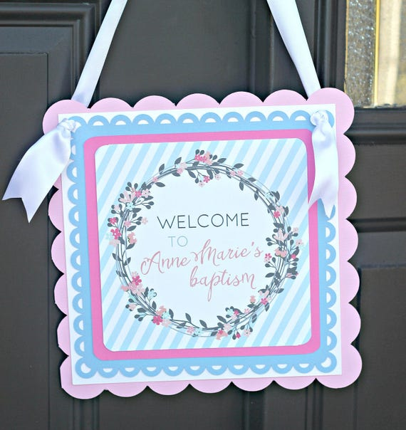 Baptism Welcome Sign Religious Decorations Door Sign First