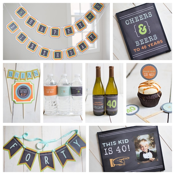 Image of: Gif 50 Etsy This Kid Is 40 40th Birthday Party Sign 40th Party Etsy