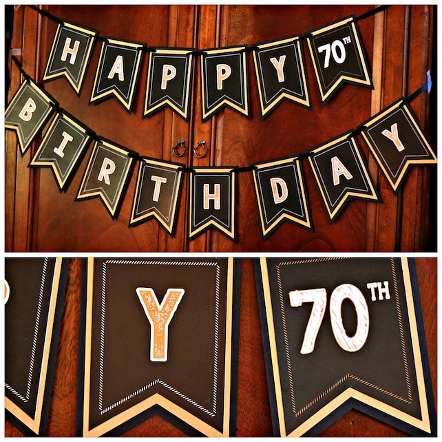 70TH BIRTHDAY PARTY Banner Happy Birthday Cheers To 70 Years Vintage 1948 70th Party Decorations