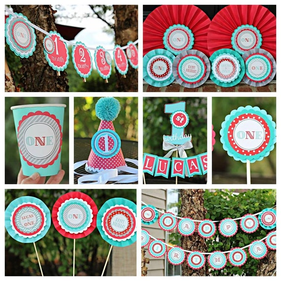 RED AND AQUA Birthday Party Decorations, 1st Birthday