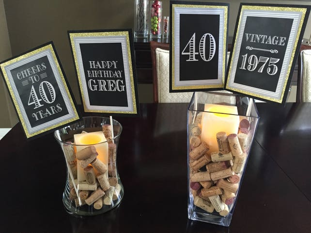 40TH BIRTHDAY CAKE Topper 40th Birthday Party Decorations Supplies For Him Masculine Black And Gold