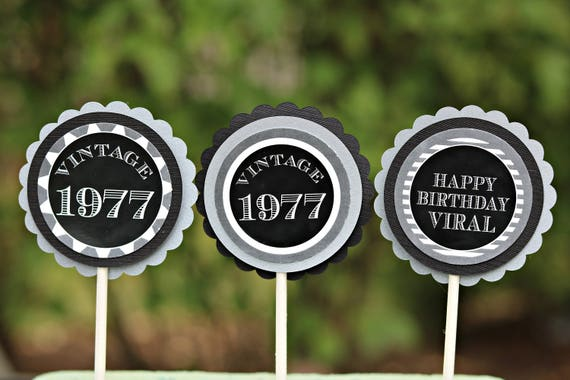 40TH BIRTHDAY DECORATIONS Cupcake Toppers 40th Party Decor Masculine Birthday For Him Black And Silver