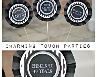 40TH BIRTHDAY DECORATIONS 40th Centerpiece Sticks Birthday For Him Masculine Black And White Cheers To 40 Years