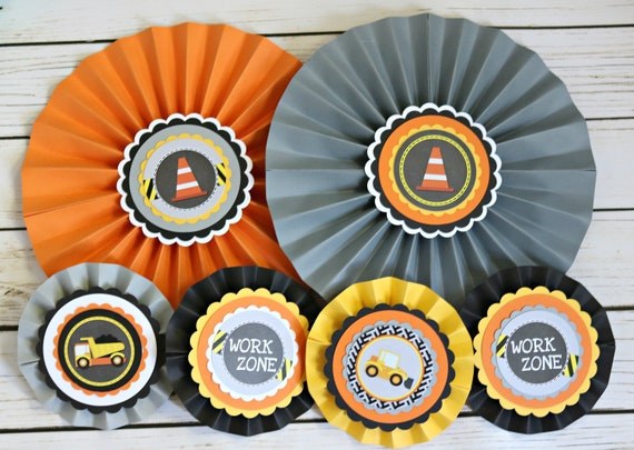 CONSTRUCTION Decorative Rosettes Paper Fans Construction Birthday Decorations Party Decor Digger Bulldozer