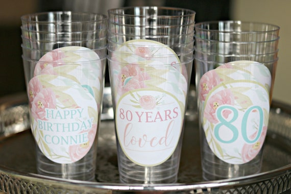 80TH BIRTHDAY DECORATIONS Floral Birthday 80th Party Cups Wine Glass Beer Cup Pink Milestone For Her And Aqua