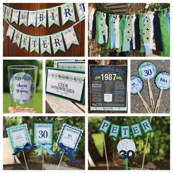 Mens Golf Birthday Golf Party Decorations Golf Partee Preppy