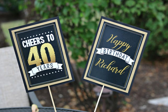 40TH BIRTHDAY PARTY Centerpiece Sticks 40th Party Pick Decorations