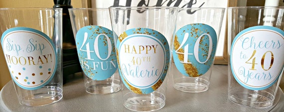 Cheers and Beers to 40 years a 40th birthday shot glass A glitter shot glass that is perfect for a 40th Birthday Gift Fully custom shot glass!