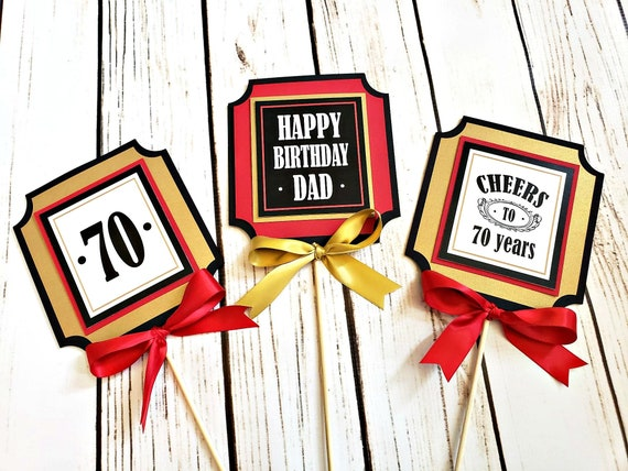70TH BIRTHDAY Centerpiece Masculine Milestone Birthday Decorations 70th Party Cheers To 70 Years Red And Gold
