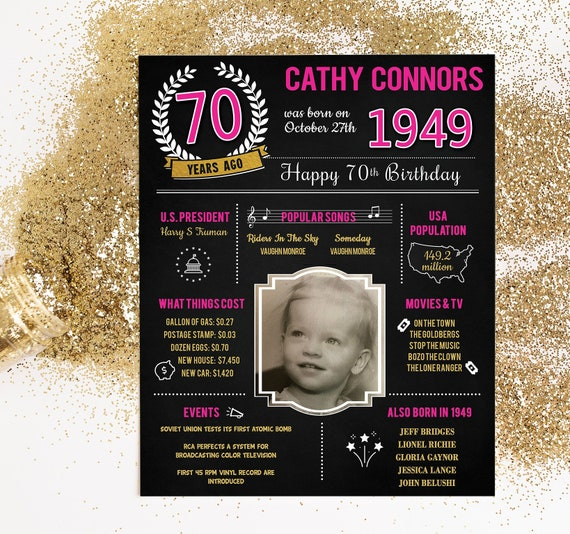 PRINTED 70th Birthday Poster Back In 1949 What Happened Decorations Hot Pink Party Decor Vintage