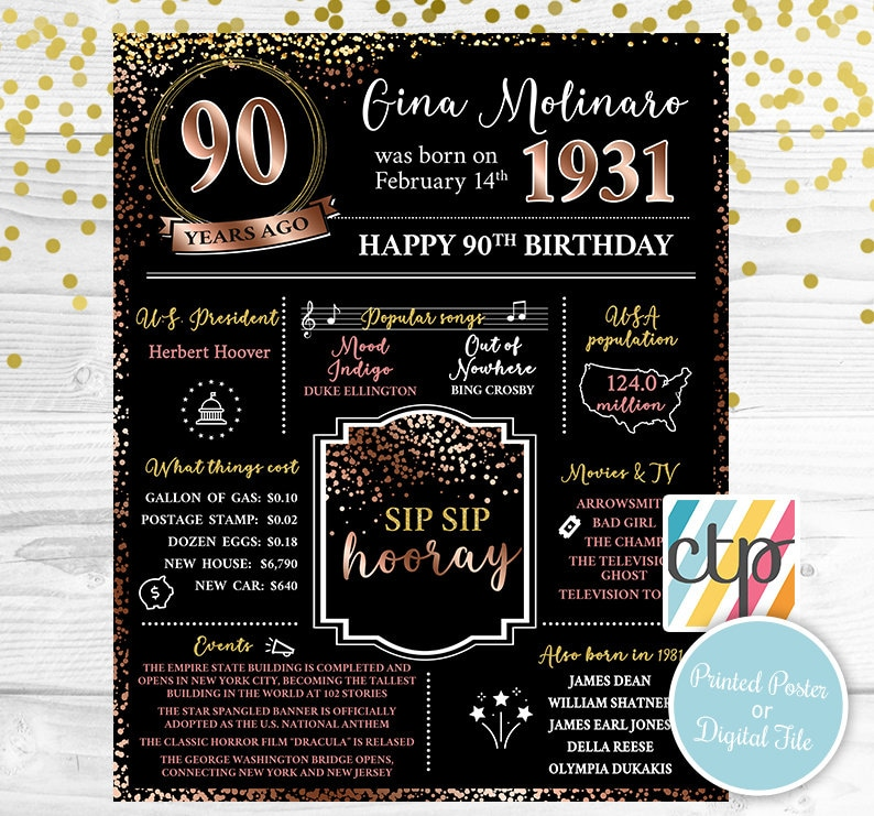 30s Born in 1931 Grandma Gift, Personalized Gift 90th Birthday Decorations 90th Birthday Poster