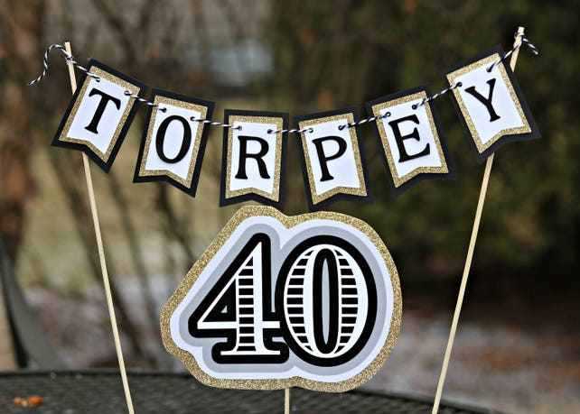 40TH BIRTHDAY CAKE Topper 40th Birthday Party Decorations Supplies For Him Masculine