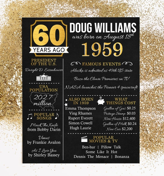 PRINTED 60th Birthday Poster Back In 1959 What Happened Decorations Black And Gold Party Decor Vintage
