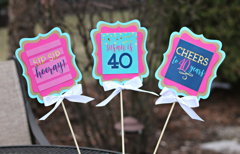 40th Birthday Party Centerpiece Sticks Adult Table