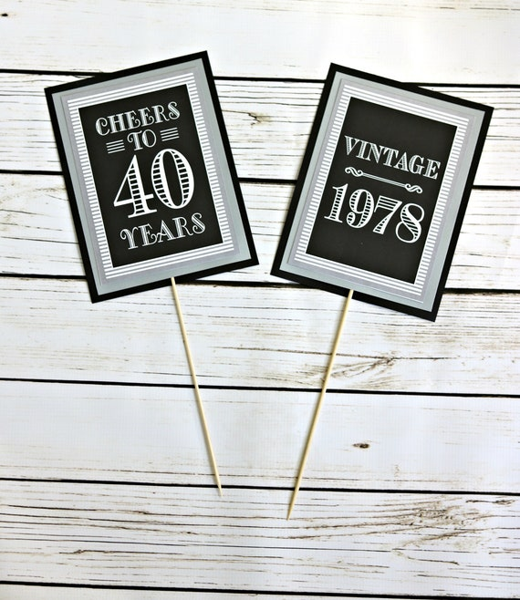 ADULT BIRTHDAY PARTY Decorations Milestone 40th Birthday 50th 60th Centerpiece Black And Silver