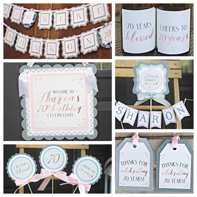 70th BIRTHDAY DECORATIONS Rose Gold Silver Blush Pink