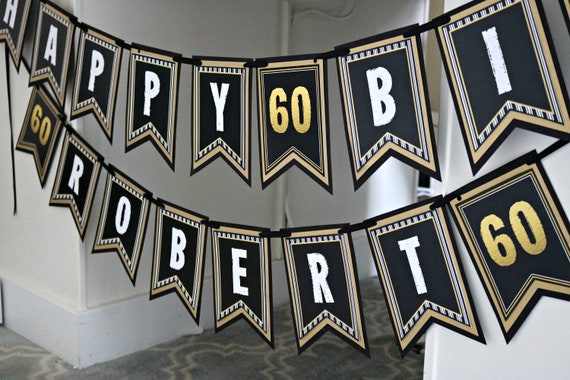 60TH BIRTHDAY BANNER Happy Birthday 60th Decorations Party Decor Cheers To 60 Years Vintage Black And Gold