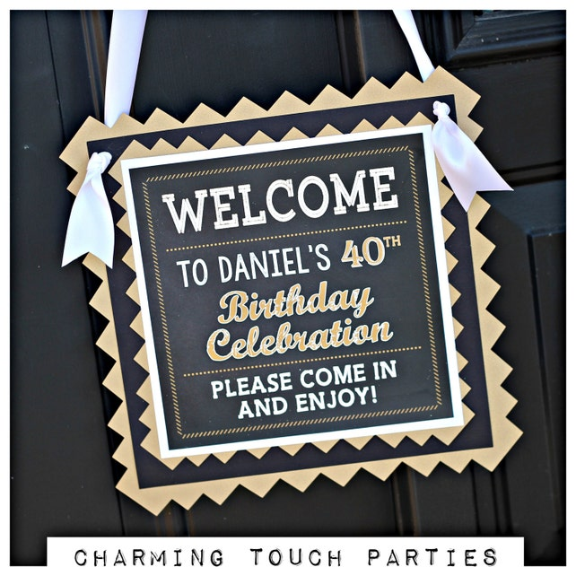 40TH BIRTHDAY DECORATIONS 40th Birthday Party Welcome Sign Door Yard Masculine For Him