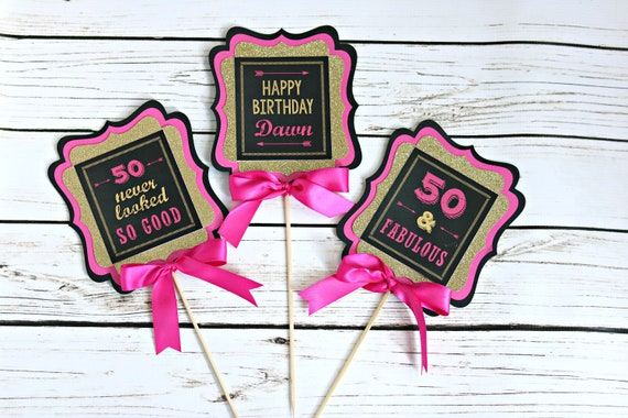 50TH BIRTHDAY CENTERPIECE Cheers To 50 Years And Fabulous Ladies Birthday Womens 50th Party Decorations Hot Pink Gold