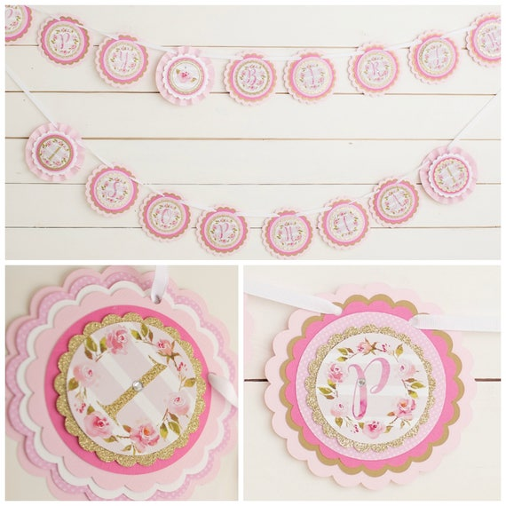 floral 1st birthday banner happy birthday girl first etsy