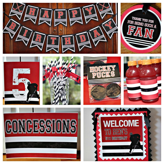 HOCKEY PUCK INVITATIONS Hockey Puck Birthday Invitations Boy Sports Party Decorations Red And Black Any Colors