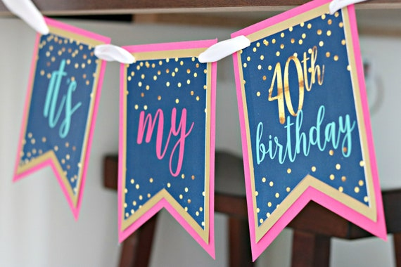 40th BIRTHDAY PARTY BANNER Party Decorations Happy Birthday Chair Banner Cheers To 40 Years Navy Blue And Pink