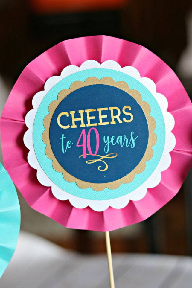 40th BIRTHDAY PARTY Decorations Centerpiece Female Birthday Womens Cheers To 40 Years Navy Blue And Hot Pink