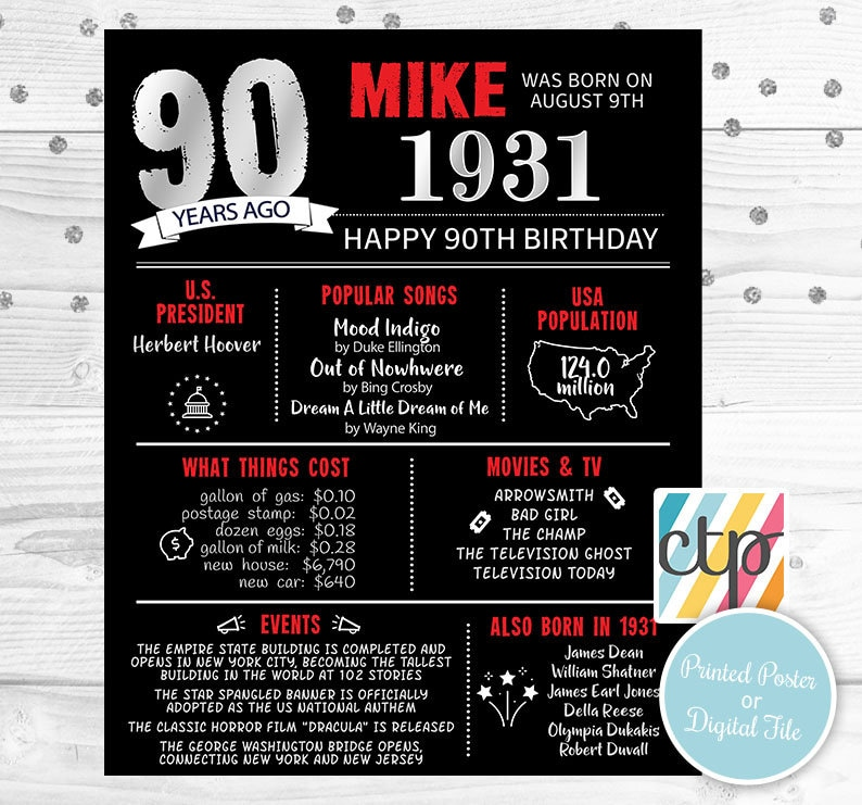 Grandpa Gift, 90th Birthday Decorations Personalized Gift Born in 1931 30s 90th Birthday Poster