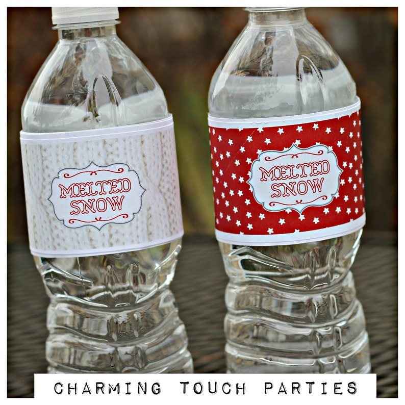 MELTED SNOW Water Bottle Labels Printed Water Bottle Wraps image 0