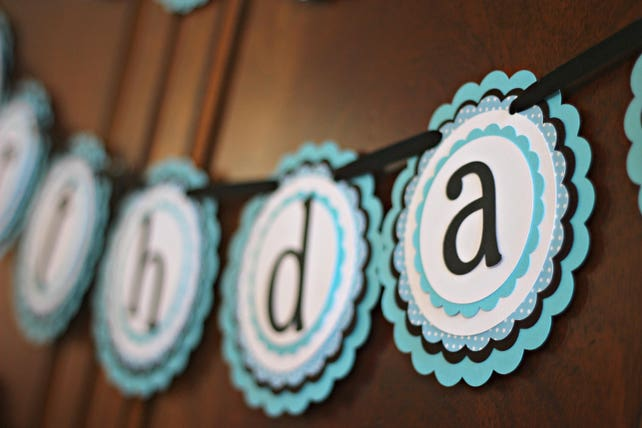 LITTLE MAN BIRTHDAY Bowtie Party Mustache Bash Decorations Happy Birthday Banner 1st First Decoration Black Turquoise