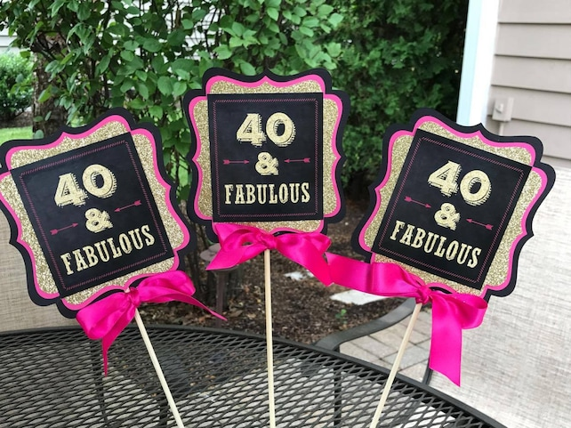 FORTY AND FABULOUS 40 And Fabulous 40th Centerpiece Birthday Party Decorations Decor Ladies Pink Gold