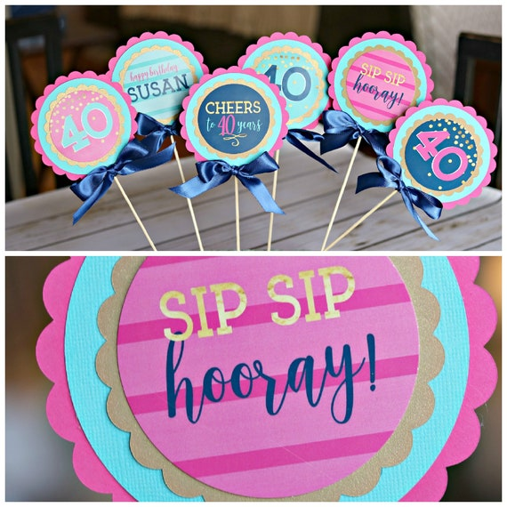 40th BIRTHDAY PARTY Decorations Centerpiece Female Birthday Womens Sip Hooray Cheers To 40 Years Navy Blue And Hot Pink