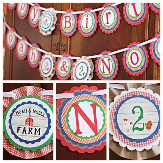 Farm Party Decorations Baby Animals Petting Zoo Happy Birthday Banner Twin
