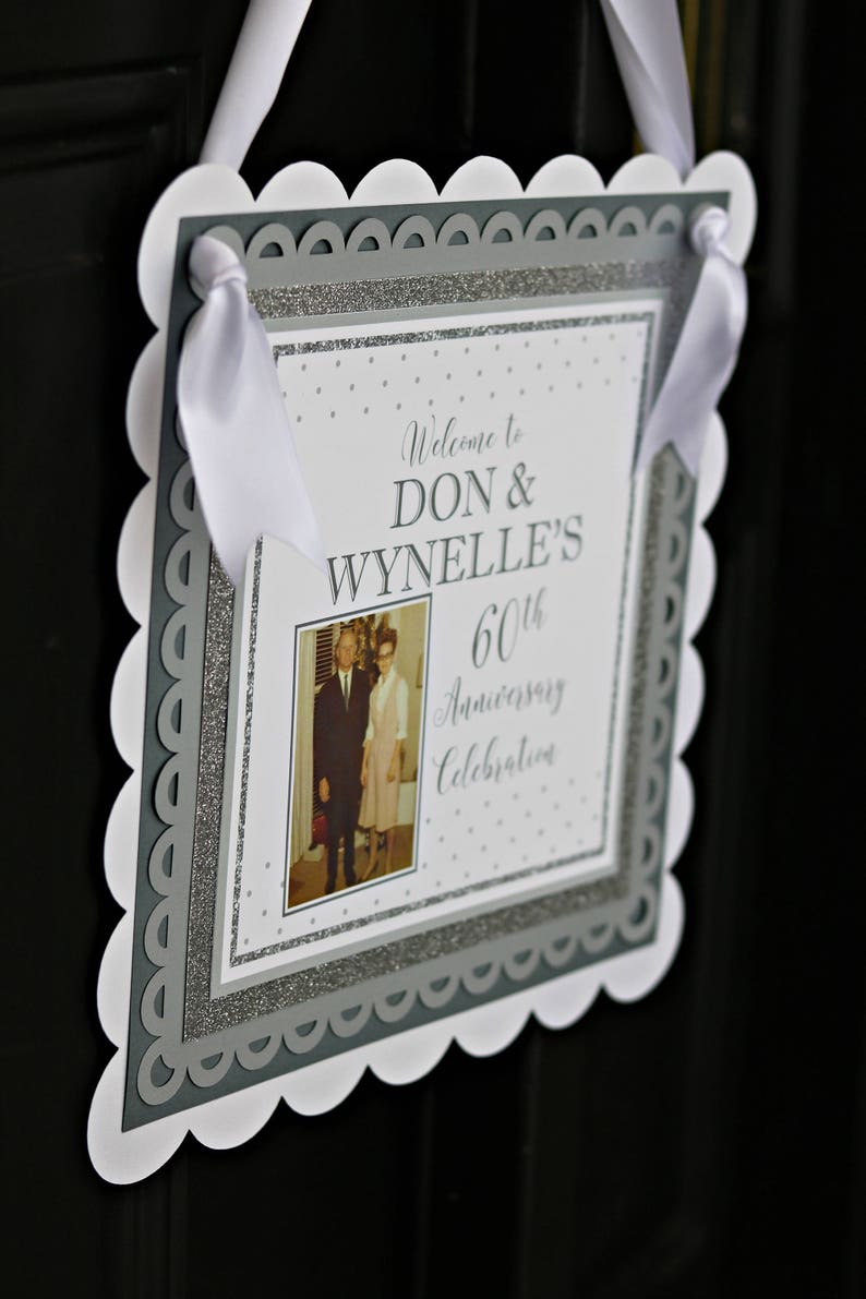 DIAMOND JUBILEE Welcome Sign 60th Wedding Anniversary Decorations Door Sign Silver and White