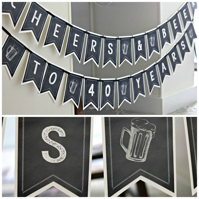 CHEERS AND BEERS Birthday Banner 40th Party Decorations Beer