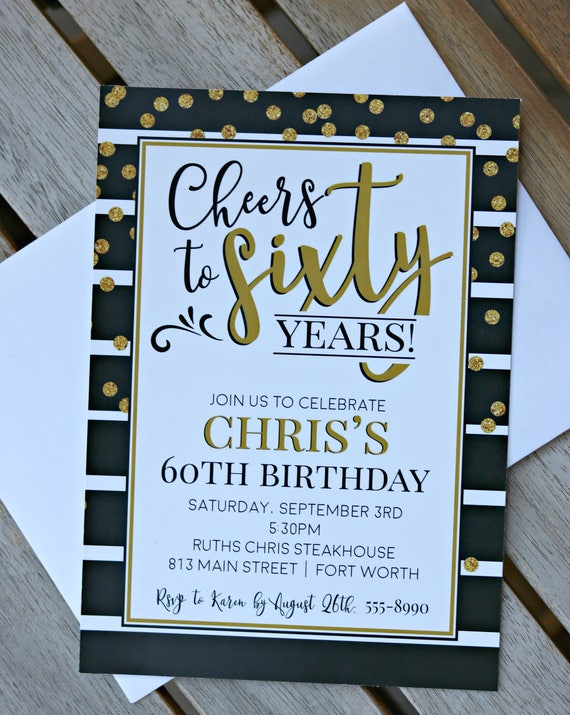 PRINTED 60TH INVITATIONS Ladies 60th Birthday Decorations Invitations Cheers To 60 Years For Her Black Gold