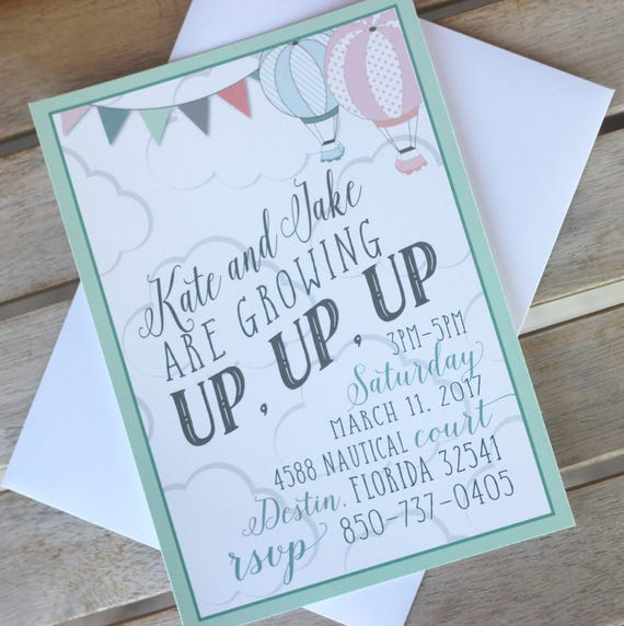 PRINTED Hot Air Balloon Invitations Boy And Girl Birthday Party First 1st Twin