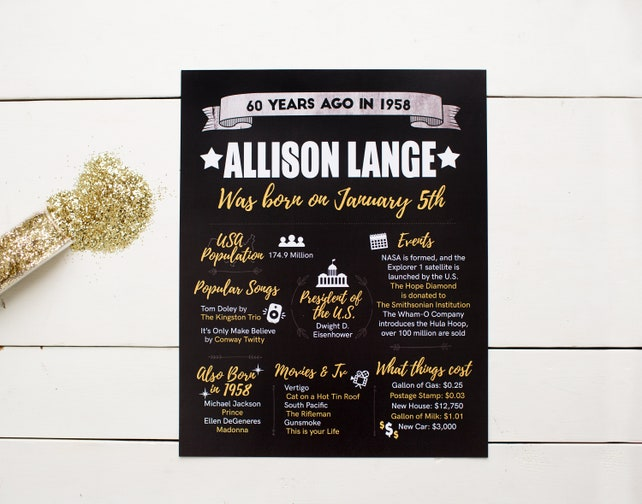 PRINTED 60th Birthday Poster Back In 1958 What Happened Decorations Black And Gold Party Decor Vintage