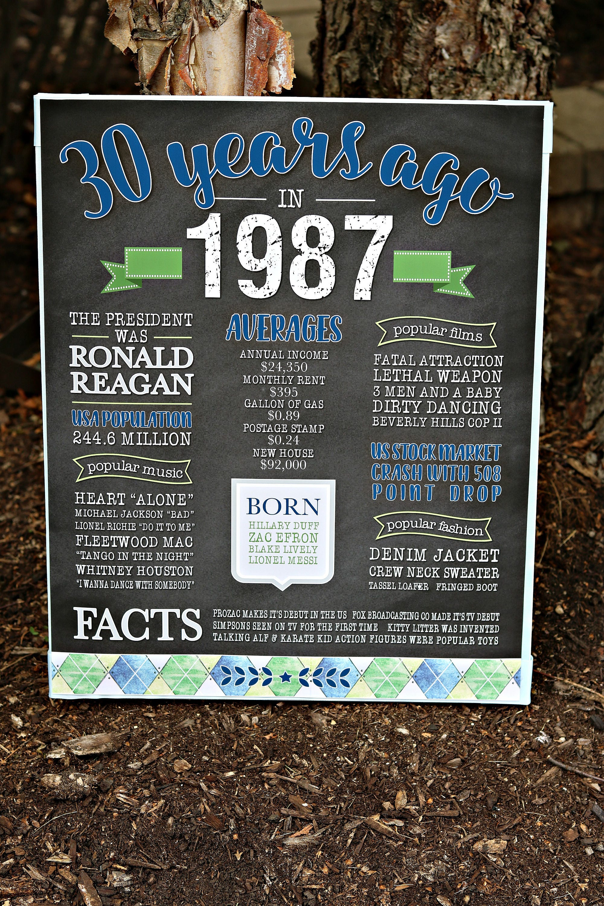 PRINTED 30th Birthday Poster What Happened In 1988 Sign Golf