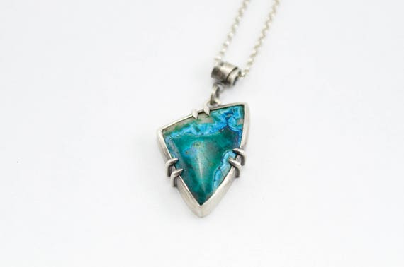 Silicated Malachite and Sterling Silver Pendant