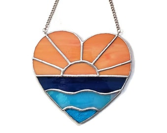Unique Stained Glass Ocean Sunrise Heart Suncatcher, Beach Stained Glass Ocean Suncatcher, Stained Glass Ocean Lover Gift with Yellow Sunset